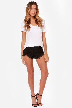 Do Tell Black Lace Shorts at LuLus.com!