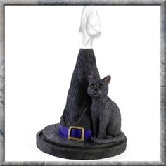 Witches Hat With Cat Incense Cone Burner AND 12 Incense Cones. Not only do you get this cute witches hat cone burner, but you get a pack containing 12 cones… what a deal!!!