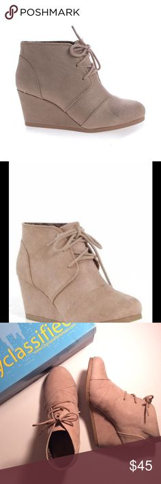 """OXFORD WEDGE BOOTIES🔹FAUX SUEDE🔹5 STAR RATING City Classified Oxford 2.75"""" wedge bootie, taupe. Size 8, true to size. Man made materials. Beautiful boots, rated 5 stars. New with box, no price. Will look great on you for 3 seasons!!! SUGGESTED USER, FAST SHIPPER City Classified Shoes Ankle Boots & Booties"""