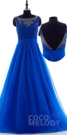 Royal blue tulle open back #promdress. #cocomelody