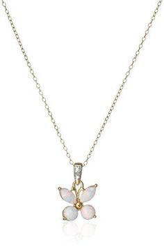 18k Yellow Gold and Rhodium Plated Sterling Silver Created White Opal Butterfly Pendant Necklace *** Want additional info? Click on the image.