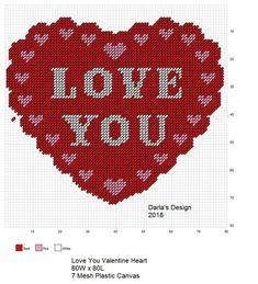 Plastic Canvas Stitches, Plastic Canvas Tissue Boxes, Plastic Canvas Crafts, Plastic Canvas Patterns, Valentine Heart, Valentine Crafts, Valentines, Valentine Ideas, Cross Stitch Boards