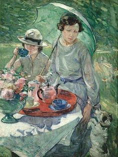 'Tea Table in Garden' (1925) British artist Esther Borough Johnson (1867-1949).