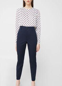 High-waist cotton trousers -  Woman | MANGO United Kingdom