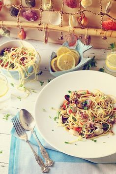 Seafood spaghetti, the first of the three recipes I prepared for What Liberty Ate online food styling magazine. (Scroll down for English translation)