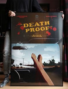Poster tribute for the movie Death Proof, from director Quentin Tarantino. I took the image of the feet, the beginning scene from the movie. It represents a fettish for the director, and for me its in a good mesure the image and attitude of the starring girls, a perfect introduction to the film. The drawing is an original design by me. Art print 70x100 cm/ 27.6x39.4/ size B1. Art paper 150g/m² glossy coated. It is shipped in a ROLL with a mailing poster tube, to ensure safe delivery.  All…