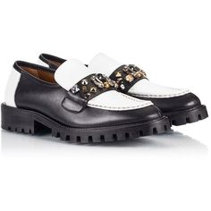 Ras - Two-tone leather multi-studded lug-sole loafers (€215) ❤ liked on Polyvore featuring shoes, loafers, two tone loafers, two tone leather shoes, two tone shoes, embellished shoes and genuine leather shoes