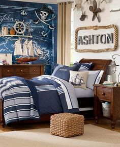Pottery barn kids - pirate room--rope around the name Bedroom Themes, Kids Bedroom, Boys Pirate Bedroom, Bedroom Ideas, Boys Nautical Bedroom, Boy Bedrooms, Kids Pirate Room, Nautical Theme, Pirate Bedroom Decor