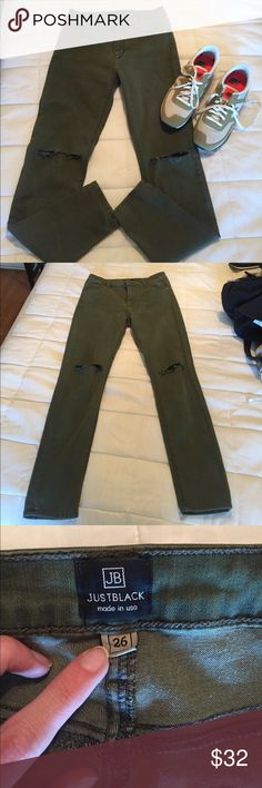 Just Black Skinny Jean (worn once) These are sooo comfy and stretch. Bought these with another pair and I don't like olive on my ski tone but  boutique won't return. I paid more but just want to get something out of them! Smoke and pet free home! just black Jeans Skinny