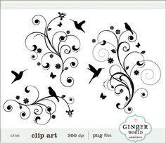 Bird Tree Flower Flourish Swirl Decorative clip art by GingerWorld