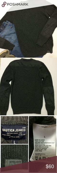 """Nautica Jeans Co Men's Sweater Nice heavy sweater in good used condition. Nylon areas on arms and shoulders. Size L, 27"""" long. Nautica Sweaters"""