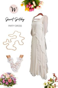 The famed Great Gatsby dress by Nataya offers an etherial airy look for that perfect theme event, garden or beach wedding. It's not only comfortable, but also adjusts beautifully to any body shape. The Dress is comprised of a supple chiffon upper and cotton voil underdress. The off-center rose brings this beauty life and the corset back removes the need for a tailor.