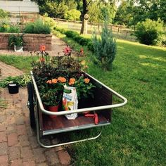 New garden cart with assorted plants.