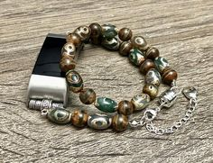 627d2b1bd Handcrafted Tibetan Beads Bracelet for Fitbit Charge 2 Handmade Striped Dzi  Beads Fitbit Charge 2 Band Dzi Eyes Jewelry Bracelet