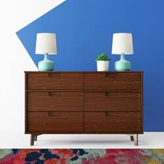 Hashtag Home Cecille Groove 6 Drawer Double Dresser Colour: Walnut Double Dresser, Dresser With Mirror, Dresser Drawers, Chest Of Drawers, Dressers, Grey Dresser, Home Decor Furniture, Home Decor Bedroom, Blue Bedroom