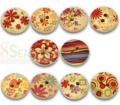 fancy printed Wooden Buttons-10 by Chayestamp for $1.60 on #zibbet