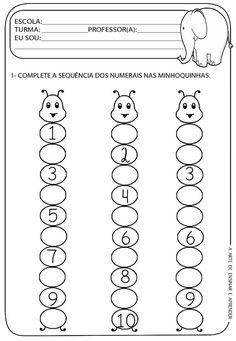 Image result for fichas pré escolar números Kindergarten Math Worksheets, Kindergarten Lessons, Alphabet Worksheets, Preschool Learning Activities, Math Classroom, Preschool Activities, Maternelle Grande Section, Numbers Preschool, Math For Kids