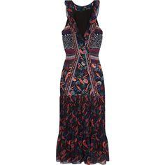 Saloni Amy printed silk-chiffon midi dress (485 NZD) ❤ liked on Polyvore featuring dresses, floral dresses, floral print dress, calf length dresses, floral midi dress and v-neck dresses