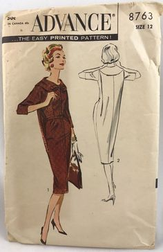 Advance 8763 Dress 1958 Sz12/32 complete fair printed cut fragile some may be torn sld 18.5+fr 4bds 3/2/17