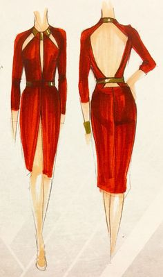The sketches of the wine red dress Gal Gadot wore in Batman v Superman! I thought was exquisite! Classy and sexy!