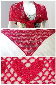 Sweet Heart Shawl : Free crochet pattern with photo tutorial in each step.