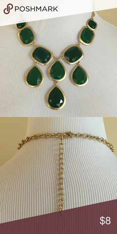 Jewel drop statement necklace NWT Pretty statement necklace in shades of green.  Can be worn high on the neck or use extender for longer look.  Lead/nickel free, NWT. Jewelry Necklaces