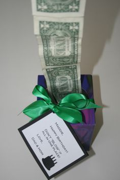 "DIY Don't Blow it All Gift Idea! This is totally cool! (The note here says ""Happy Birthday"" but you can make it for Christmas, Father's day, Mother's Day, for kids etc. I'm making it for my grandson's birthday!) All you need is an empty Kleenex box. Oh, and cash. Dollar bills. Tape the dollar bills together end to end with Scotch tape. Stuff them in the Kleenex box with just one dollar sticking out of the box."