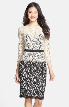 Free shipping and returns on Tadashi Shoji Two-Tone Lace Sheath Dress at Nordstrom.com. A lovely three-quarter-sleeve sheath made from elegant lace is cast in two neutral hues for subtle contrast. The bow-detailed waistband defines the figure and draws the eye toward the narrowest part of the silhouette.
