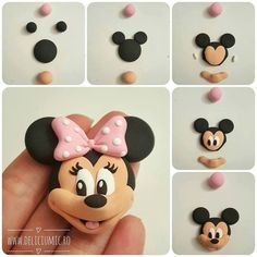 New cake frosting techniques polymer clay ideas Bolo Da Minnie Mouse, Mickey Cakes, Minnie Mouse Cake, Bolo Mickey, Mickey Mouse, Cake Topper Tutorial, Fondant Tutorial, Fondant Toppers, Cute Polymer Clay