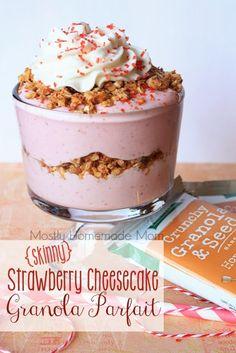 Mostly Homemade Mom - Skinny Strawberry Cheesecake Granola Parfait with Kashi! www.mostlyhomemademom.com