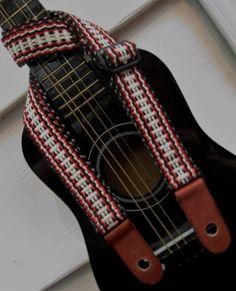 Handwoven Ukulele Strap, Handmade Leather Ends