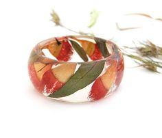 Real flower jewelry. Eucalyptus.Real flower bracelet. Resin Bangle Bracelet. Australian flower. Orange bracelet. Australian Gift.