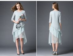 2016 Spring Chinese Style Knee Length Elegant Fashion Asymmetrical 3/4 Sleeve Qipao Women Party Dress Blue&Pink&White OY60260