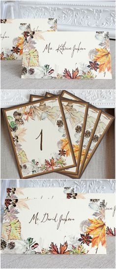 Autumn Foliage Wedding Stationery | reception goods- table numbers, place cards | Sunshine and Ravioli