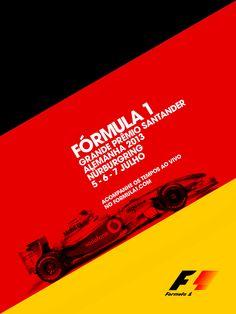 Anúncio GP Nurburgring F1 - Adobe Photoshop | Background com as cores da bandeira da Alemanha na diagonal para transmitir velocidade e movimento. Treinando técnicas de layout utilizada pelos alemães no período do Modernismo.