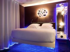 For a futuristic sojourn, choose one of the Seven's suites equipped with an LED-lit bed that appears to levitate off the ground (some even have levitating tubs). Adjust the blue or purple light to create your own sci-fi experience. (preferredhotelgroup.com, from $225)More hotel slideshows:Famous Couples and Their Favorite HotelsHotels with Secret Entrances and ExitsThemed Hotel Suites that Put Regular Rooms to ShameThe World's Most Lavish and Expensive Hotel Suites