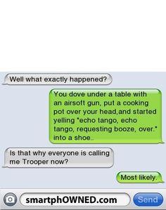 Text I wasn't that drunk trooper