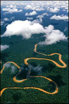 The Amazon River upstream in Peru