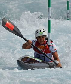 Moroccos Hind Jamili Competes In The Womens K1 Kayak Slalom Competition At Whitewater Stadium During