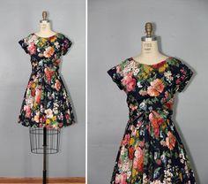 floral dress / vintage dress / day dress / cotton AMERICAN HEARTBREAK dress on Etsy, $138.00