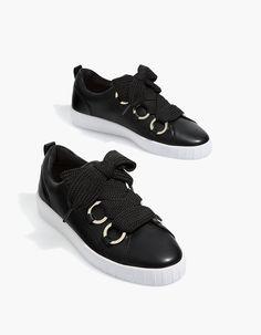 Black lace-up sneakers - All | Stradivarius Japan