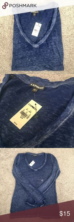 NWT Express Blue Shirt Size Small Long sleeve blue burn out v-neck shirt. Somewhat sheer and seen in the last photo. 50% polyester 38% cotton 12% rayon. Very smooth material. Express Tops Tees - Long Sleeve