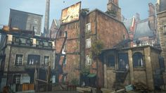 Dishonored - Stealth action-adventure Tall building environment, very industrial era feel, lots of brick with added sheet metal, some foliage for added colourization   http://www.stfuandplay.com/story/content/dishonored-review#.VCl5CvldXh4 (Brian Munjoma, 2012)