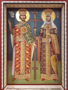 Saints Kontanstin and Elena Sf Constantin, Faith Of Our Fathers, Byzantine Icons, All Icon, Religious Icons, High Art, Kirchen, Catholic, Christ