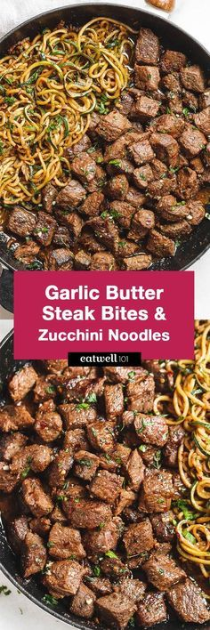 Garlic butter Steak Bites with Lemon Zucchini Noodles – So much flavor and so easy dinner to throw together! Garlic butter Steak Bites with Lemon Zucchini Noodles – So much flavor and so easy dinner to throw together! Paleo Recipes, Low Carb Recipes, Cooking Recipes, Zoodle Recipes, Easy Low Carb Meals, Easy Recipes, Lunch Recipes, Healthy Steak Recipes, Food Dinners