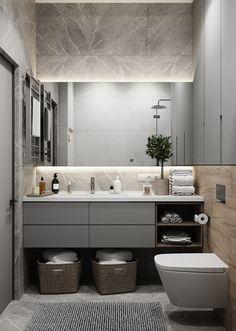 Fürdőszoba ötletek: a tükör mögé rejtett világítás (LED-szalag) nem csak ötletes mego… Bathroom Spa, White Bathroom, Small Bathroom, Master Bathroom, Bathroom Mirrors, Bathroom Design Inspiration, Bad Inspiration, Bathroom Design Luxury, Bathroom Renovations