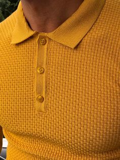 GentWith Fabros Mustard Slim Fit Patterned Sweater - Gent With Best Polo Shirts, Polo Shirt Style, Slim Fit Polo Shirts, Casual Shirts, Polo Sweater, Older Mens Fashion, Knitwear Fashion, Men's Fashion, Ralph Lauren