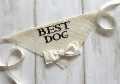 Best Dog - Ivory Wedding Dog Bandana with Bowtie - Hello Hazel Co.