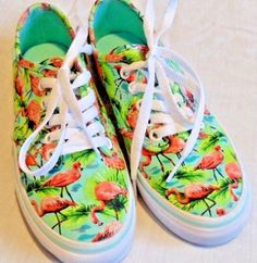 250793cb42d0 Vans Sneakers W 5 or Kids 3 Flamingos New Off the Wall Flamingoes Flamingo  Shoes
