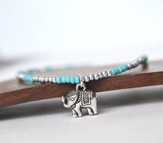 Elephant Ankle Bracelet Turquoise and Silver Beaded by LOVEnLAVISH, $16.00